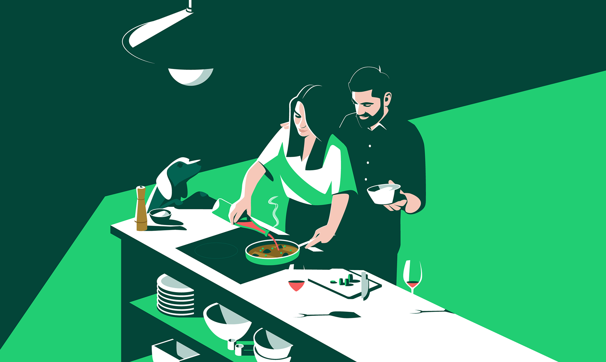 Illustration of Cooking together Section / Peñín Guide - El Chico Llama