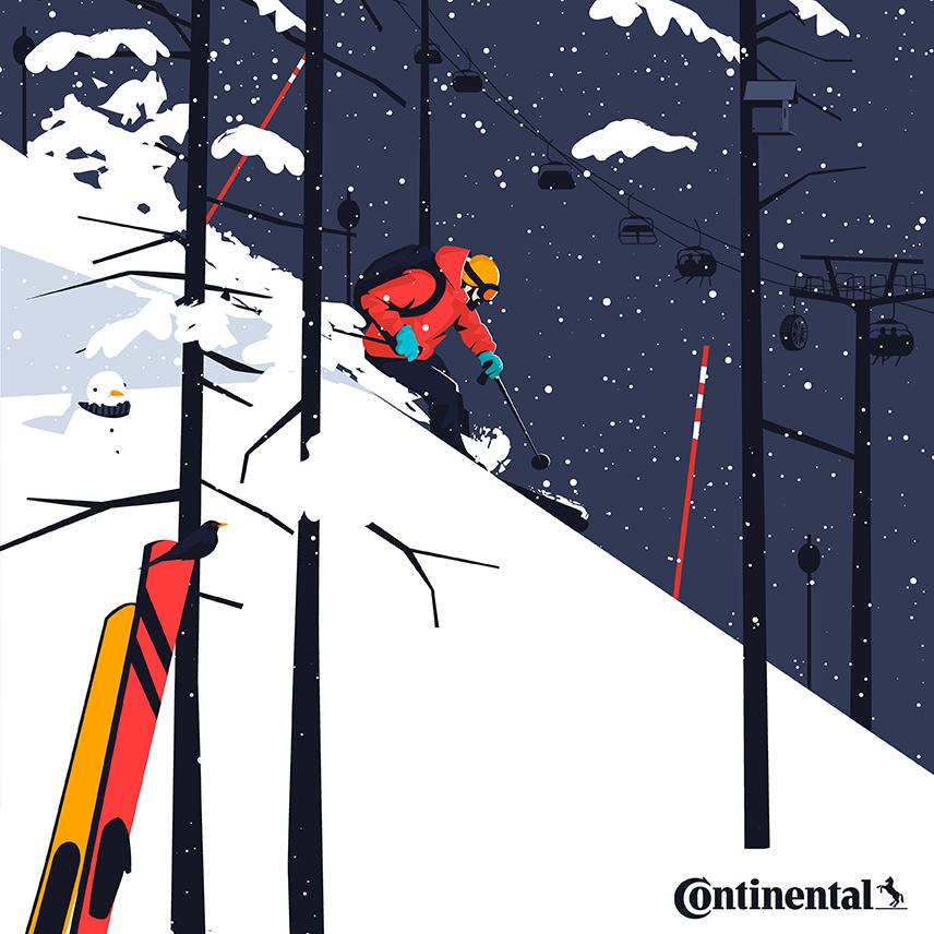 Illustration of a ski resort / Continental - El Chico Llama