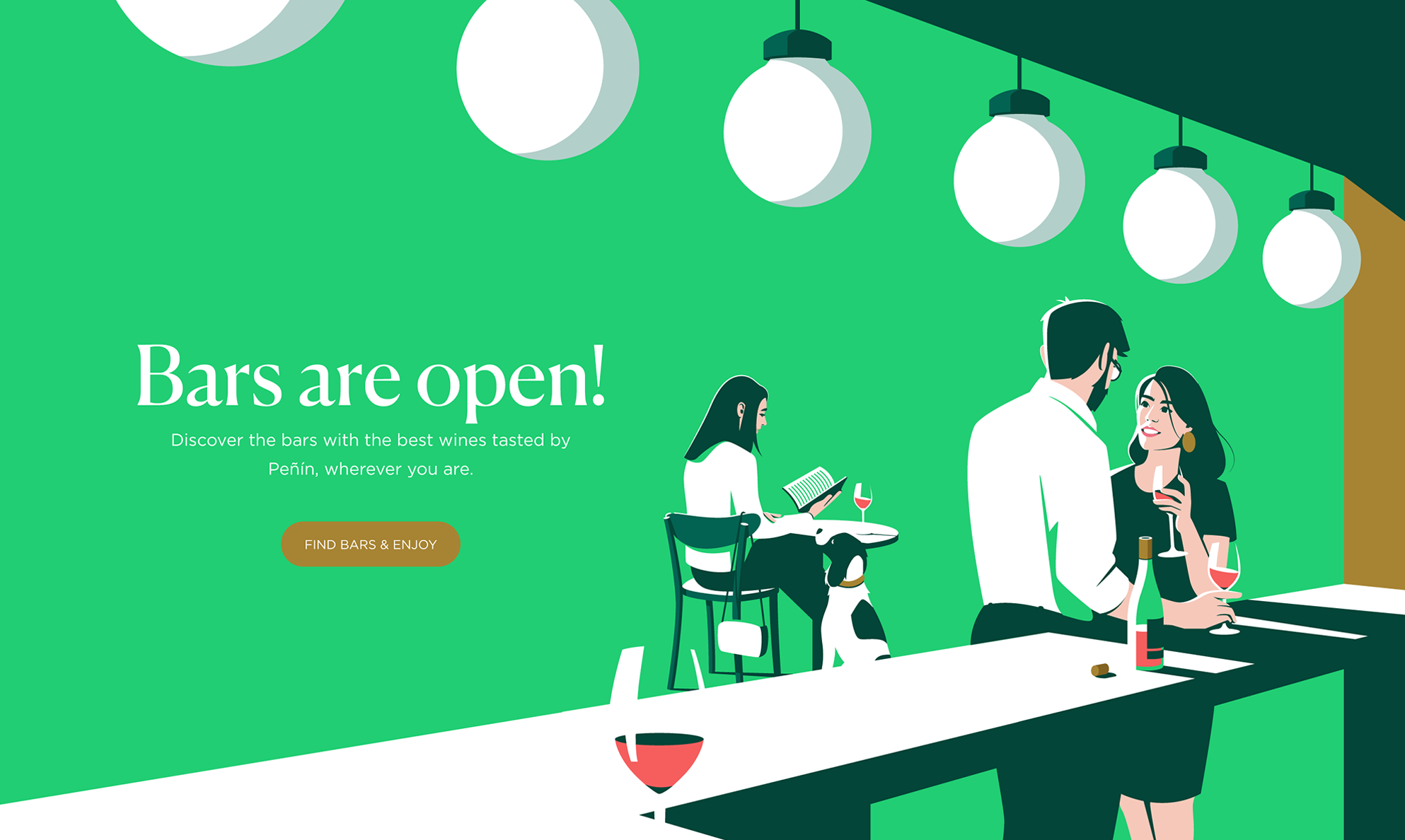 Illustration of Bars are open Section / Peñín Guide - El Chico Llama