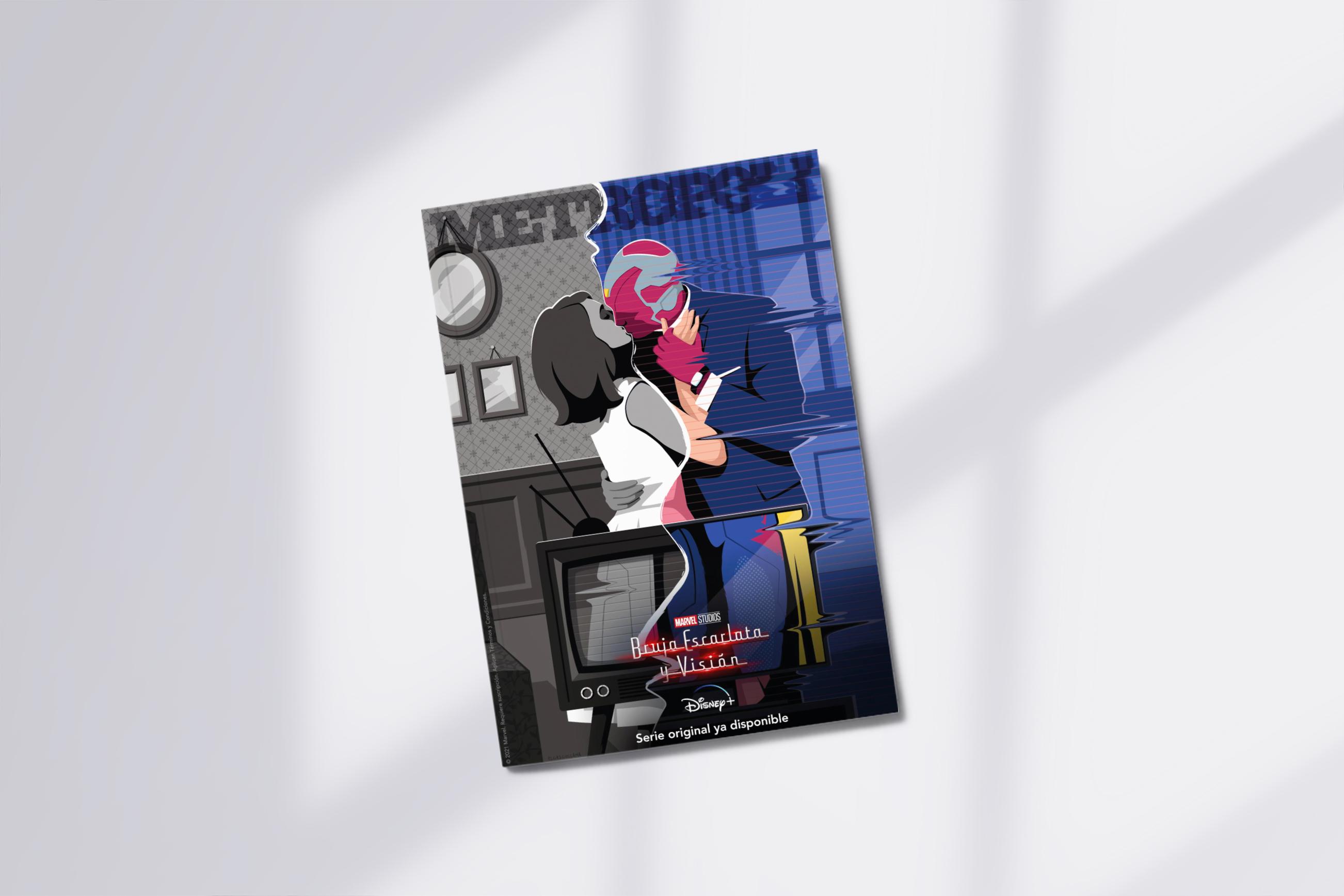 Ilustración homenaje a las míticas portadas de la revista Metropoli de la nueva serie de Marvel Bruja Escarlata y Visión - El Chico Llama