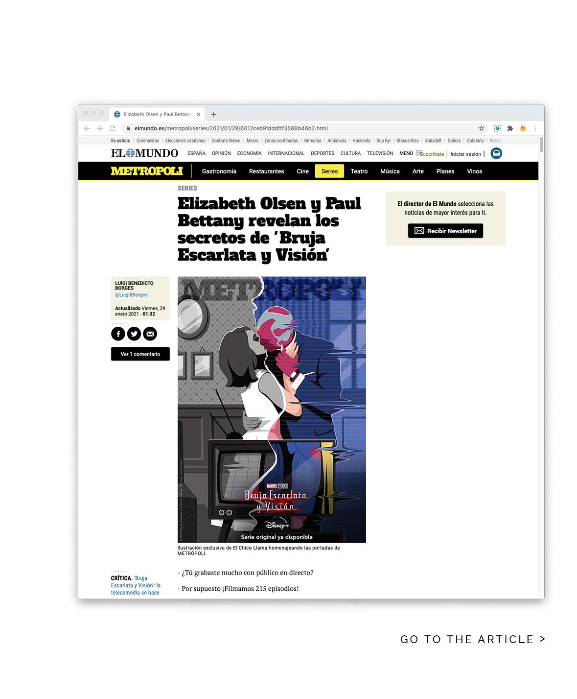 Artículo de la nueva serie de Marvel Bruja Escarlata y Visión en la revista Metropoli - El Chico Llama